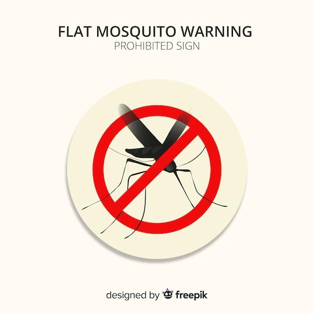 フラットデザインのモスキート警告看板 無料ベクター