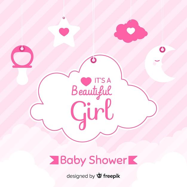 女の子のためのピンクベビーシャワーのデザイン 無料ベクター