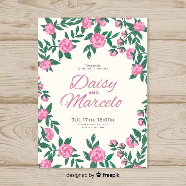 Красивый шаблон приглашения на свадьбу с цветами пиона Бесплатные векторы
