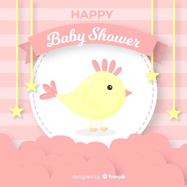 女の子のためのベビーシャワーのテンプレート 無料ベクター
