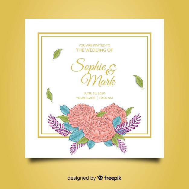 牡丹の花と美しい結婚式の招待状のテンプレート 無料ベクター