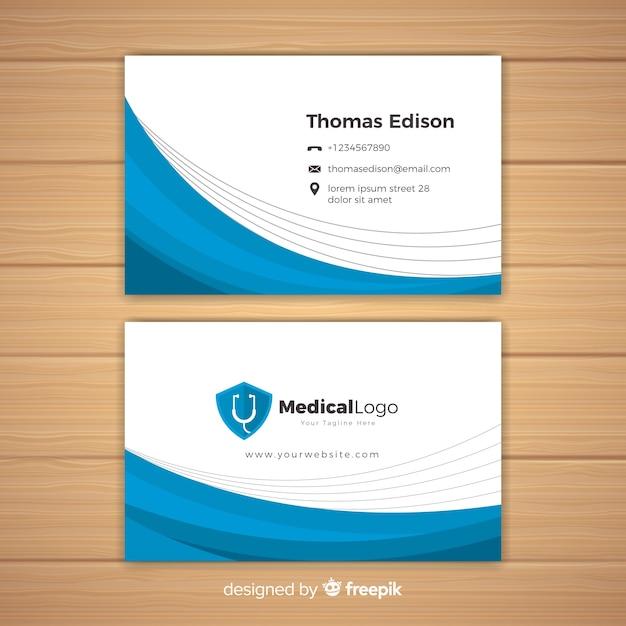 病院や医者のための近代的な名刺のコンセプト 無料ベクター