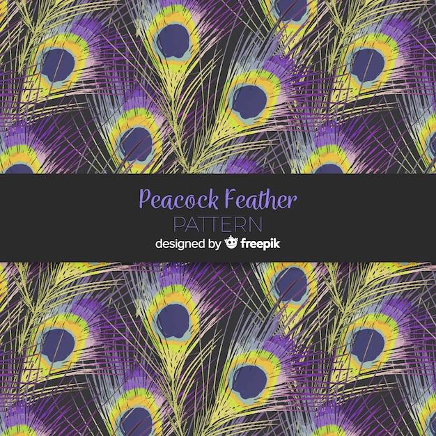 水彩の孔雀の羽のパターンのコレクション 無料ベクター