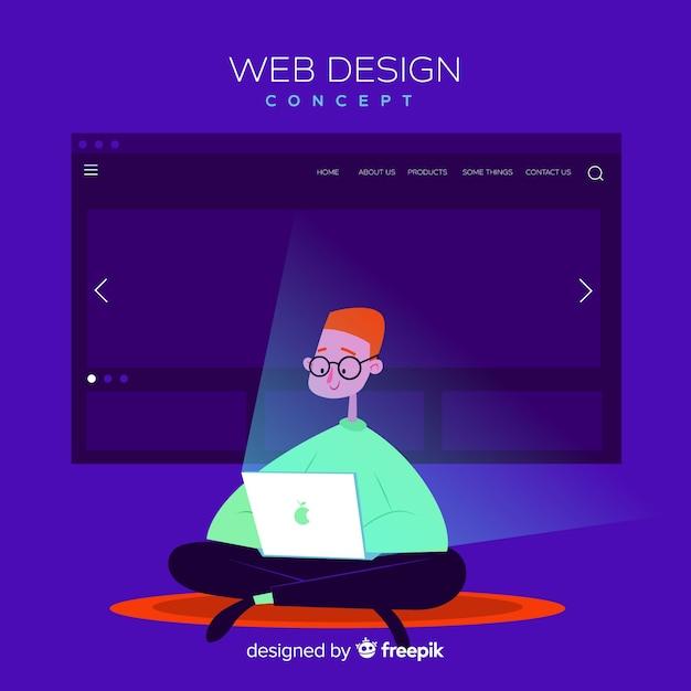 平面デザインのカラフルなウェブデザインコンセプト 無料ベクター