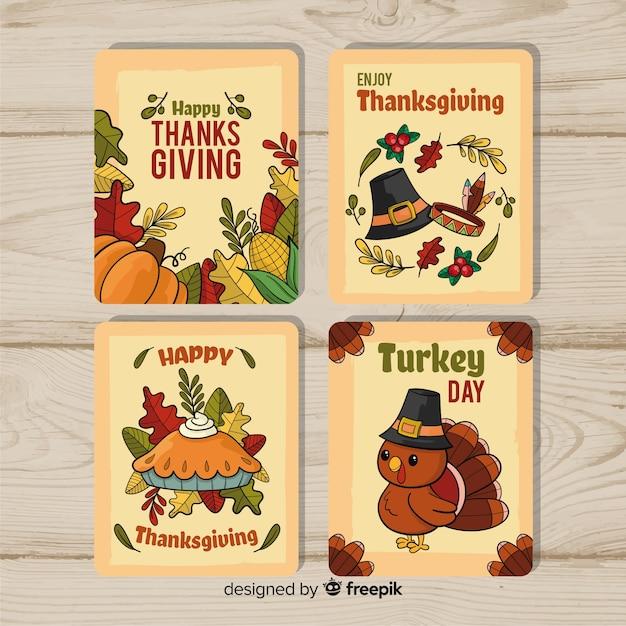 手描きの感謝の日カードコレクション 無料ベクター