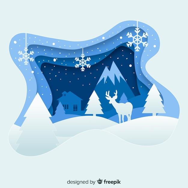 紙のスタイルとエレガントなクリスマスの背景 無料ベクター
