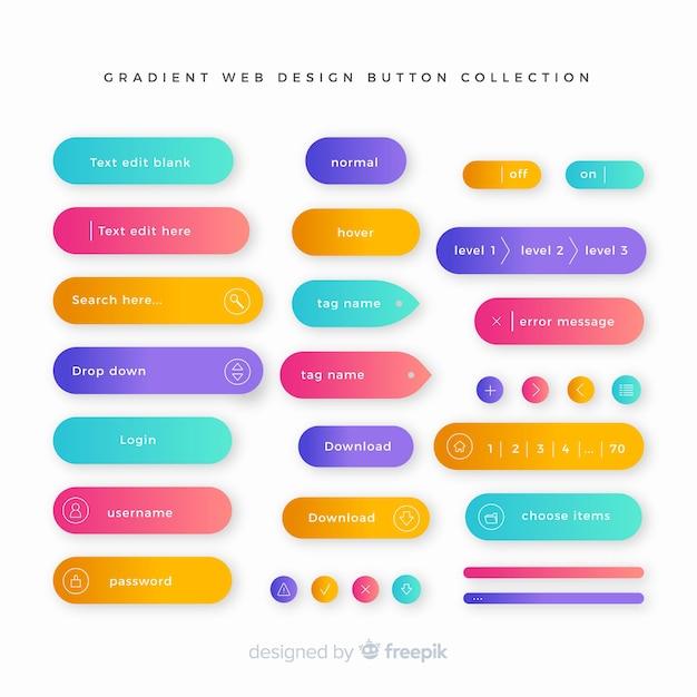 グラデーションスタイルのクリエイティブウェブボタン 無料ベクター