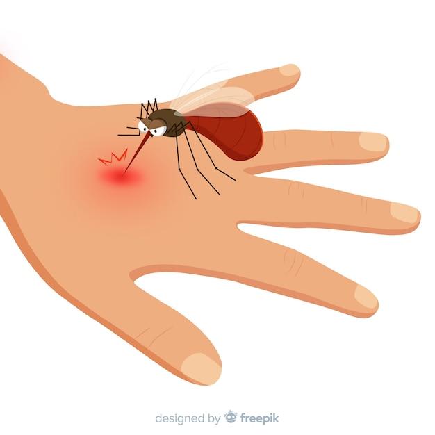 手を噛んだ手で描かれた蚊 無料ベクター