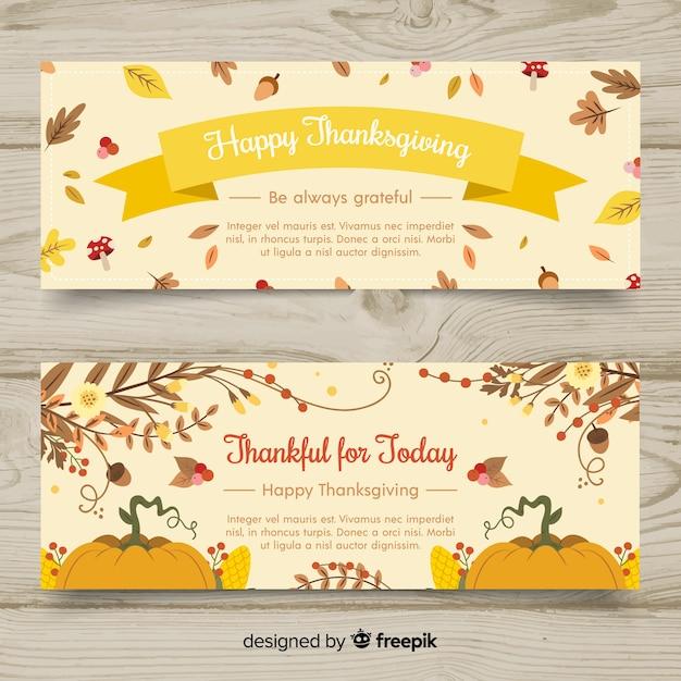 手描きの感謝の日のバナーセット 無料ベクター