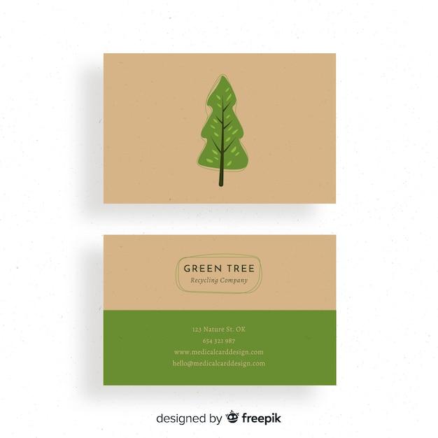 自然やエコデザインのクリエイティブな名刺 無料ベクター