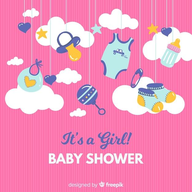 かわいいその女の子のベビーシャワーのテンプレート 無料ベクター