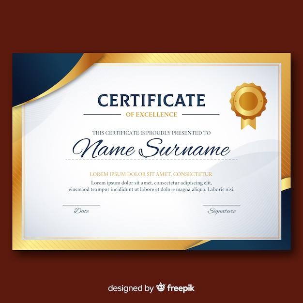 金色の要素を持つエレガントな卒業証書テンプレート 無料ベクター