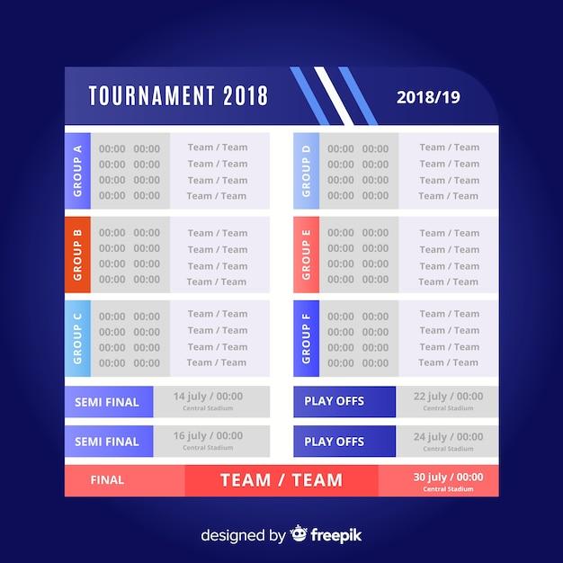 フラットデザインのカラフルなトーナメントスケジュール 無料ベクター
