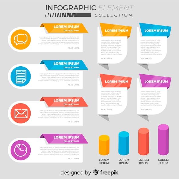 様々なフラットな情報要素の収集 無料ベクター