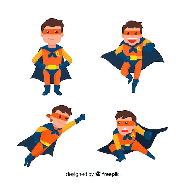 フラットデザインの現代スーパーヒーローキャラクターコレクション 無料ベクター