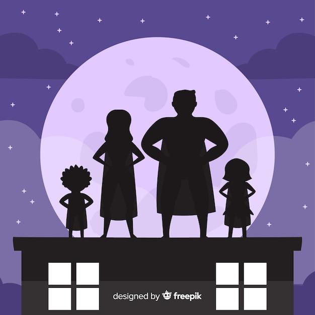 スーパーヒーローの家族の影の背景 無料ベクター