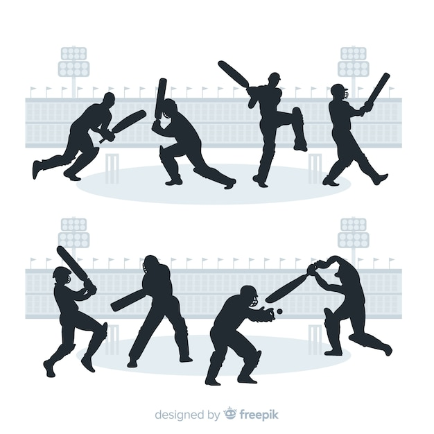シルエットスタイルのクリケット選手のセット 無料ベクター
