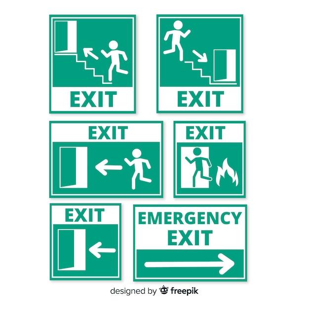 様々な出口標識 無料ベクター