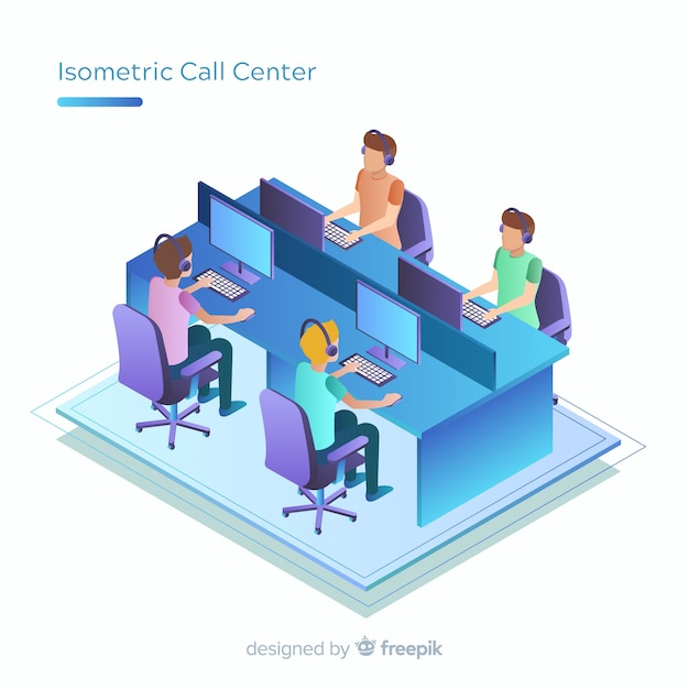 アイソメトリックデザインの最新コールセンター 無料ベクター
