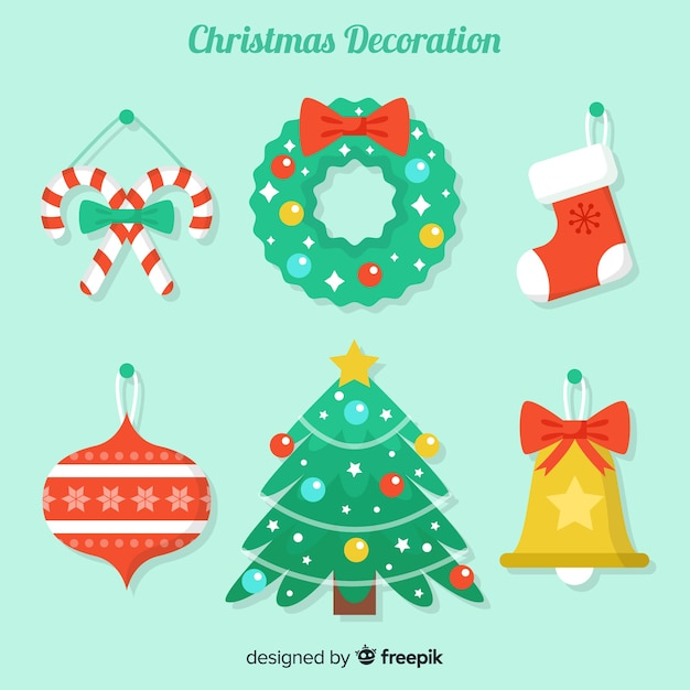 美しいフラットクリスマスデコレーションデザイン 無料ベクター
