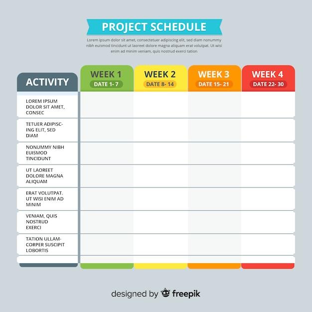 Цветной шаблон графика проекта с плоской конструкцией Бесплатные векторы
