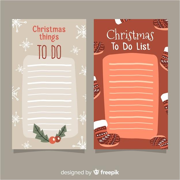クリスマススタイルのリストコレクションを行う現代 無料ベクター