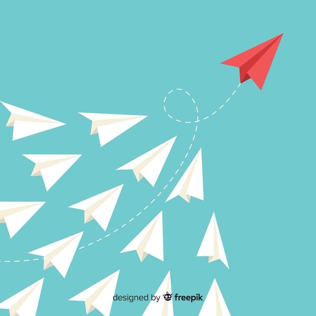 リーダーシップと紙飛行機のコンセプト 無料ベクター