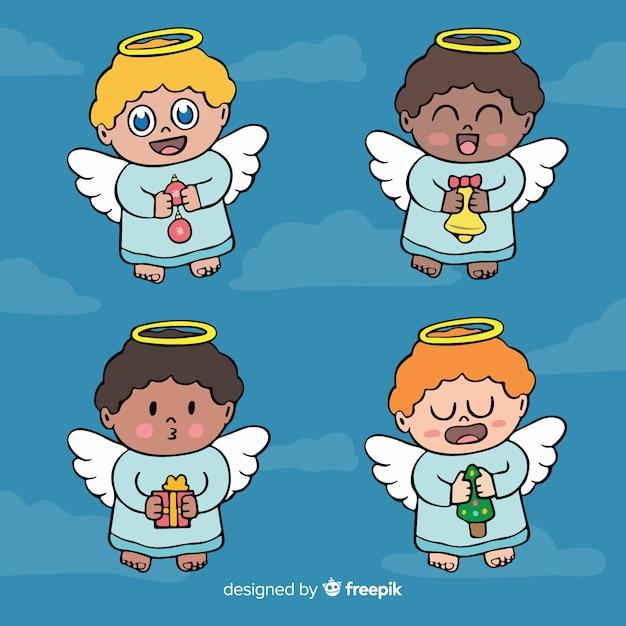 かわいい漫画の天使のコレクション 無料ベクター