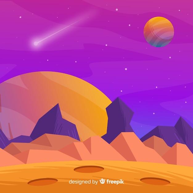 フラットデザインのカラフルな火星の背景 無料ベクター