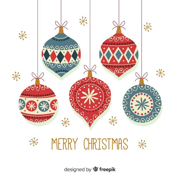 フラットクリスマスデコレーションデザイン 無料ベクター