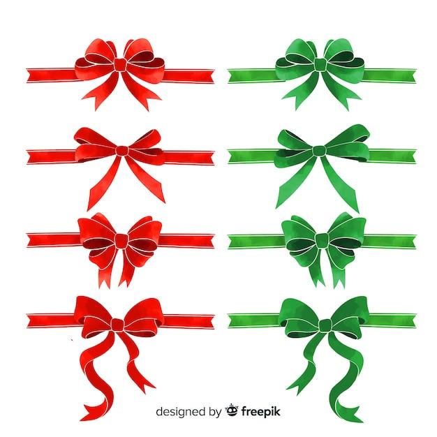 フラットデザインのラブリークリスマスリボンコレクション 無料ベクター