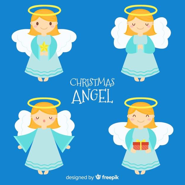 Симпатичная рождественская коллекция ангелов в плоском стиле Бесплатные векторы