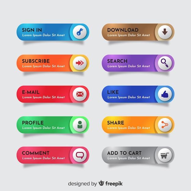 Веб-кнопка, установленная в плоском стиле Бесплатные векторы