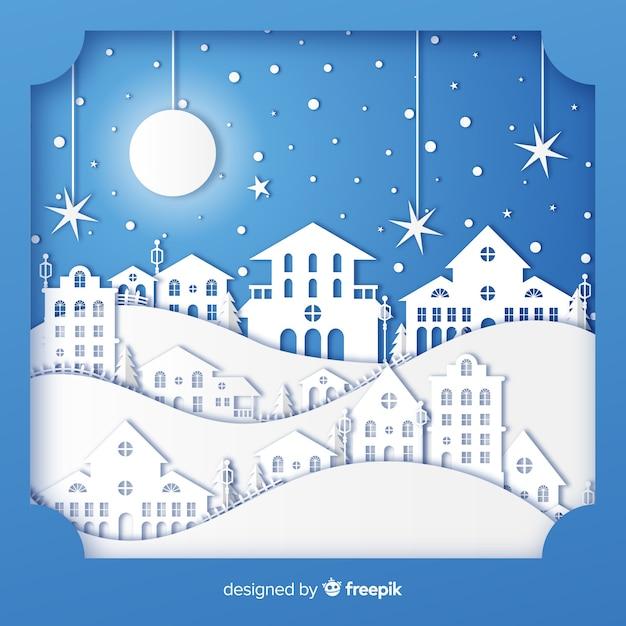 紙のスタイルと素敵なクリスマスの町 無料ベクター