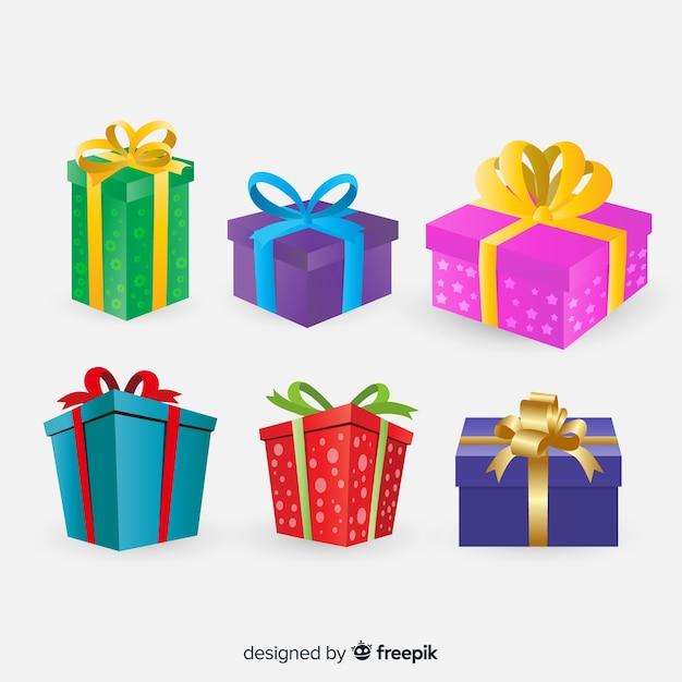 フラットデザインのカラフルなクリスマスギフトコレクション 無料ベクター
