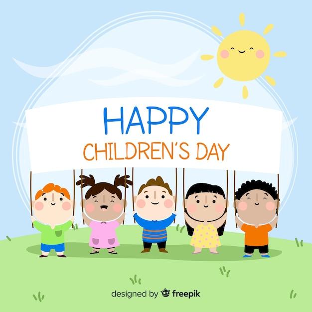 Счастливый детский день фон Бесплатные векторы