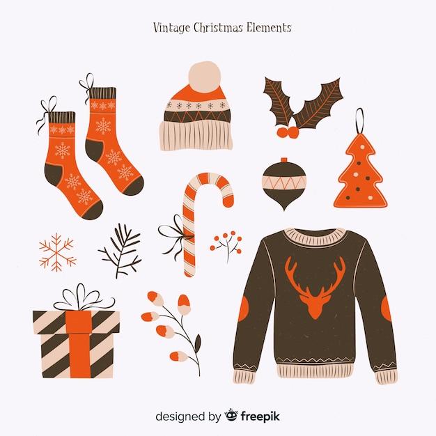 ヴィンテージデザインと素敵なクリスマスの要素のコレクション 無料ベクター