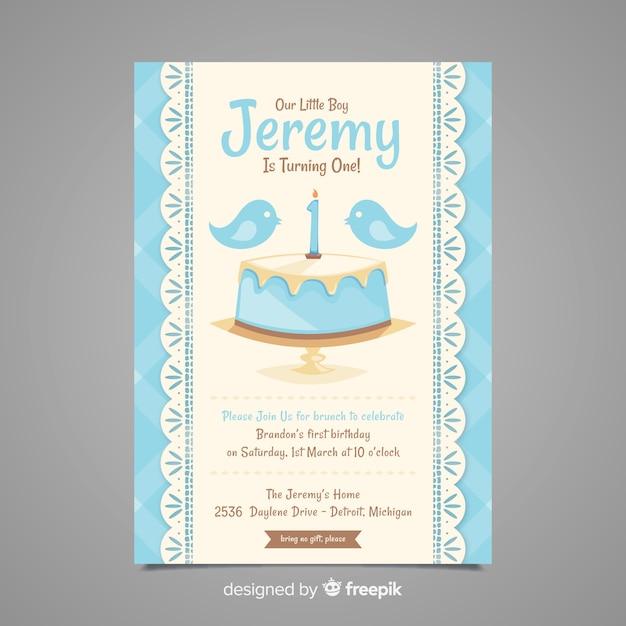 最初の誕生日の鳥のケーキの招待状 無料ベクター