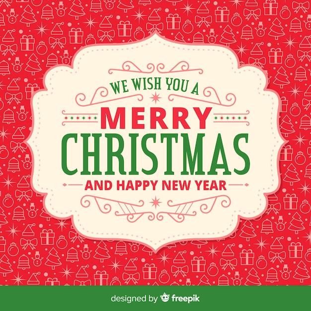 背景パターンとクリスマスのデザイン 無料ベクター