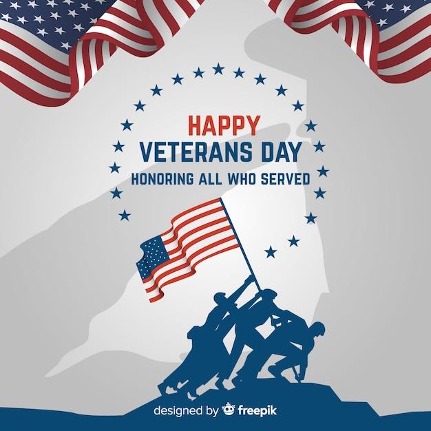 退役軍人の日の背景と私たちの旗 無料ベクター