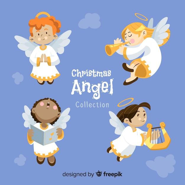 フラットクリスマス天使の美しいコレクション 無料ベクター