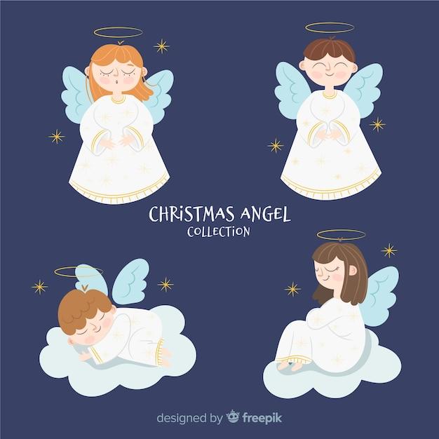 素敵なクリスマスの天使のコレクション 無料ベクター