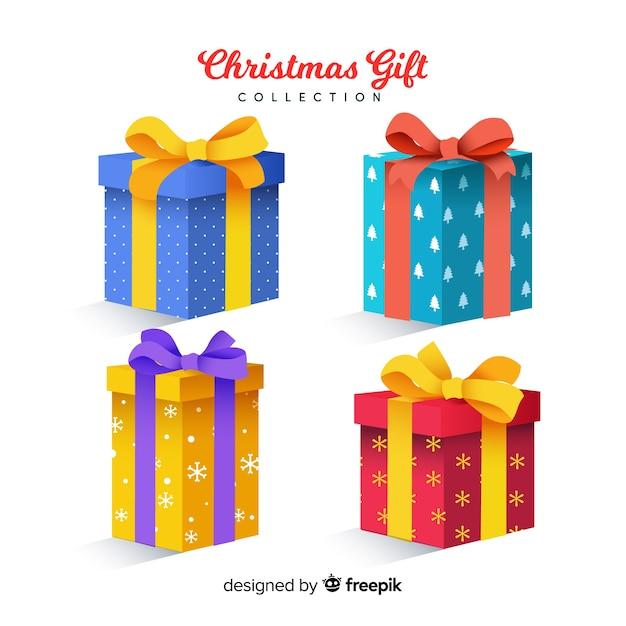 現実的なデザインのカラフルなクリスマスプレゼント 無料ベクター