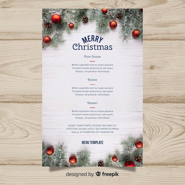 エレガントなクリスマスメニューテンプレートと写真 無料ベクター
