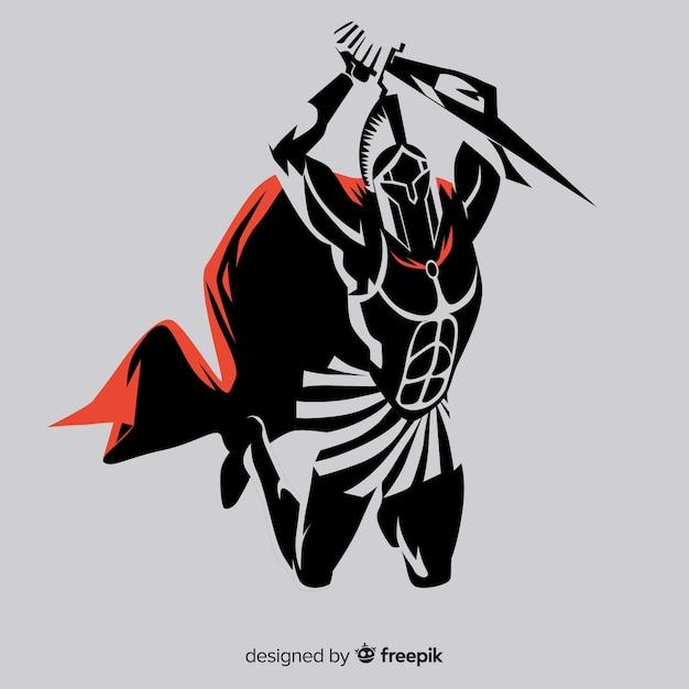 剣を持つスパルタン戦士のシルエット 無料ベクター