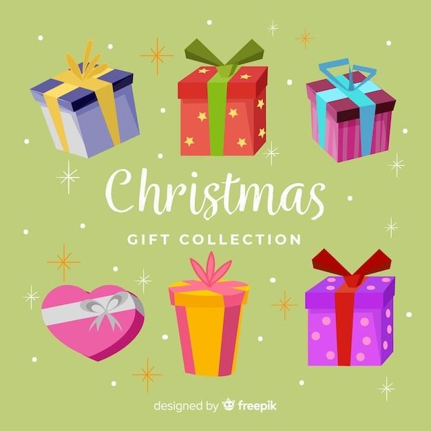 カラフルなクリスマスギフトボックスコレクション 無料ベクター