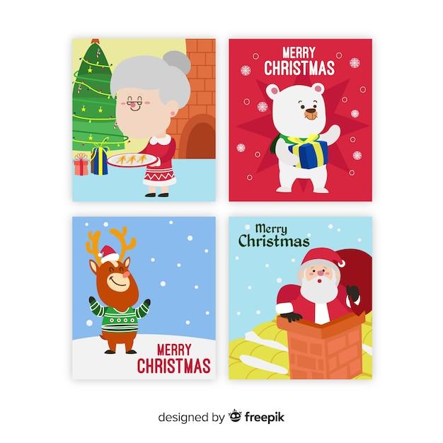 クリスマスシーンカードコレクション 無料ベクター