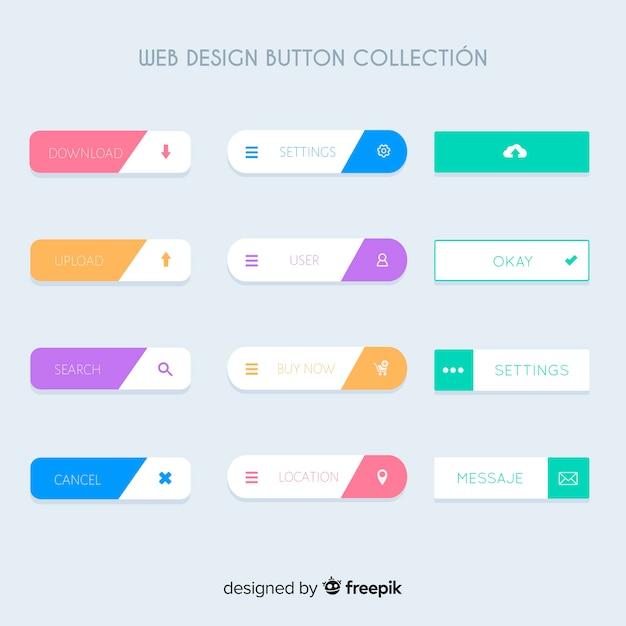 Коллекция кнопок веб-дизайна Бесплатные векторы