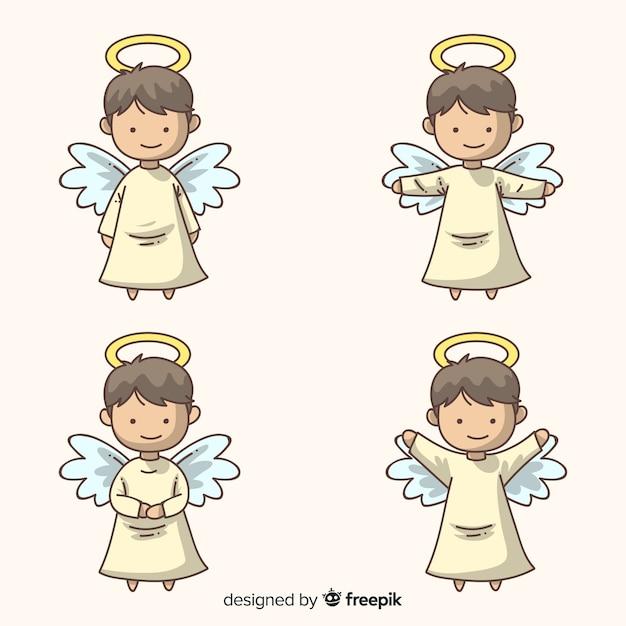 かわいい手描きのクリスマス天使キャラクターコレクション 無料ベクター