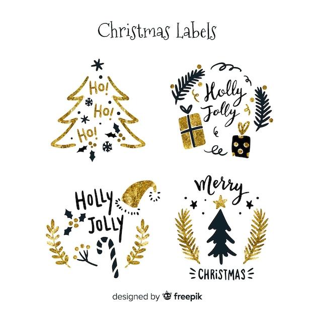 エレガントな黒と黄金のクリスマスラベル 無料ベクター